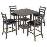 Red Barrel Studio® TREXM 5-Piece Wooden Counter Height Dining Set, Square Dining Table w/ 2-Tier Storage Shelving & 4 Padded Chairs in Brown/Gray