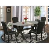 Winston Porter Aimer 5-Pc Dining Room Set - 4 Padded Parson Chairs & 1 Modern Rectangular Cement Dining Room Table Top w/ High Stylish Chair Back