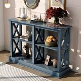 Longshore Tides Console Table w/ Three-Tier Open Storage Shelves Wood in Blue, Size 31.7 H x 46.5 W x 13.2 D in   Wayfair