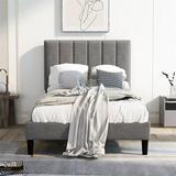 Latitude Run® Monreaux Extra-long Twin Platform Bed Wood in Brown/Gray, Size 41.3 H x 42.0 W x 78.7 D in | Wayfair FFD9BF229E464B4FB136F3AD513EEA52
