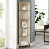 """68"""" Wood and Glass Corner Bookshelf - Birch - Walker Edison BS68NORCRBH"""