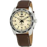 Kinetic Cream Dial Brown Leather Watch - Brown - Seiko Watches