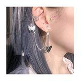 1 Pair Cuff Chain Earrings for Women, Cuffs Tassel Earrings Butterfly, Ear Cuff Droping Chain Stud Earrings for Women Girls Gifts