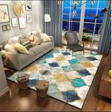 DecorationPaper Area Rug, Carpet by Persian Rugs, for Living Room Modern Design Carpet Mat, Moroccan Non Slip Area Rug, for Entry, Patio, High Traffic Areas(Blue White,120x160cm)