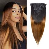 Clip in Hair Extensions Straight Hair for Women, 1B/30 Real Human Hair Double Weft Thick to Ends Clips ins Hair Extension, 1B/Brown Clip in Straight Hair Extension (18 inches)