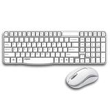 Mouse-Mouse Set Wireless Mouse Set Office Keyboard Mouse Set Spruminive Computer Keyboard Mouse Keyboard Suitable for PC/Laptop Desktop Compatible with Vista / Windows7,8,10 / Mac (Color : White)