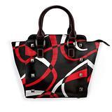 Leather Rivet Shoulder Bag Black Red White Printed Handbag Purse, For Women'S On Business Trip, Work, Travel, Shopping
