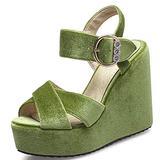 Edgchic Women Suede Peep Toe Platform Wedge Sandals Dress Sexy Wedding High Heeled Sandals Green