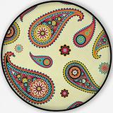 Based on Traditional Asian Elements Paisley,Carpet/Rug Round Rug Non-Slip Backing Round Area Rug Bedroom Study Children Playroom Carpet Floor Mat 3'Round