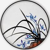 Chinese Traditional Ink Painting of Orchid on White,Round Rug Carpet/Rug Non-Slip Backing Round Area Rug Bedroom Study Children Playroom Carpet Floor Mat 3'Round
