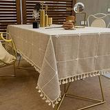 Kendiis Tablecloth for Dining Table Rustic Farmhouse Kitchen Table Cloth Coffee Table Cover, 55x71 Inch Wrinkle Free Stitching Tassel Cotton Linen Fabric Table Cover for Kitchen Dining Room Party