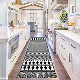 Upgraded Boho Runner Rug 2'x8', Hallway Runner Geometric Black White, 100% Woven Washable Cotton, Black Border Rug for Kitchen/Laundry Room/Entryway/Bedroom