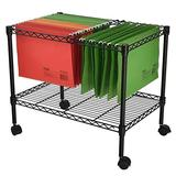 Metal Rolling File Cart,qingyin Wire Mobile Letter/Legal File Cart Hanging File Cart For Compact Storage, Library Book Cart Flat Shelves Home Shelves Office and School Book Truck,Black