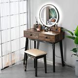 Vanity Table Set, Makeup Table with 3-Color Touch Screen Mirror&Stool, Bedroom Wood Dressing Table with 4 Storage Drawers(Wood)