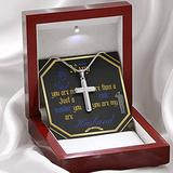 Gift For Navy (Military) Husband Stainless Steel 14K White Gold Finish Cross Necklace