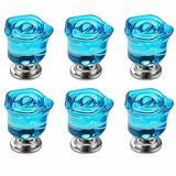 6pcs Blue Crystal Rose Shape Decorative Drawer Pull Handle for Furniture Cabinet Closet Dresser Cupboard Wardrobe Kitchen & Baby Kid's Children's Furniture Decor