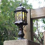 "CraftThink LED Post Light Outdoor, Vintage Lantern Outdoor Post Lighting Traditional Amber Glass LED Patio Lamp for Garden Yard Post Pole Pillar Mount Landscape, in Black 7.5"" Wide"