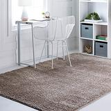Rugs.com Soft Solid Shag Collection Area Rug – 7x10 Khaki Shag Rug Perfect for Bedrooms, Dining Rooms, Living Rooms