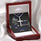 Gift For US Coast Guard (Military) Husband Stainless Steel 14K White Gold Finish Cross Necklace
