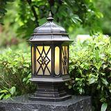 "CraftThink LED Post Light Outdoor, Vintage Lantern Outdoor Post Lighting Traditional Amber Glass LED Patio Lamp for Garden Yard Post Pole Pillar Mount Landscape, in Black 11"" Wide"