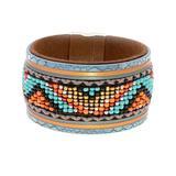Don't AsK Women's Bracelets Multi - Teal & Orange Multicolor Geometric Beaded Wrap Bracelet