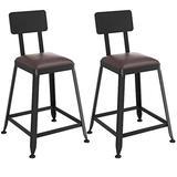 LJWJ Stool Chairs Desk,2-Piece Set Fashion Wrought Iron Bracket Bar Kitchen Breakfast Black Leg Design,a