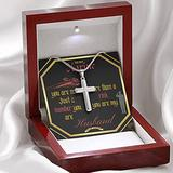 Gift For Marine (Military) Husband Stainless Steel 14K White Gold Finish Cross Necklace