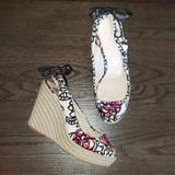 Coach Shoes | Coach Maritza Peeptoe Slingback Espadrille Wedge 7 | Color: Pink/Red | Size: 7
