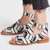Free People Shoes | Free People Blackwhite Loafer Sandals (Sz 38) | Color: Black/White | Size: 8