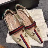 Gucci Shoes   Gucci Malaga Kid Horsebit Webbed Pumps Blue Green   Color: Cream   Size: 8