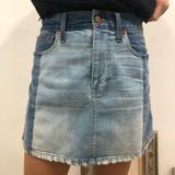 Madewell Skirts | Blue Color Block Denim Jean Mini Skirt | Color: Blue | Size: S