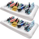 Chuzy Chef Inflatable Pool Table Serving Bar - Large Buffet Tray w/ Drain Plug - Keep Your Salads & Beverages Ice Cold in White   Wayfair