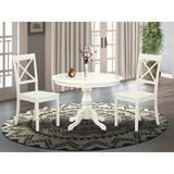 Alcott Hill® Victorine -LWH-W 3 Piece Dining Room Set - Small Kitchen Table w/ 2 Dining Room Chairs - LinenFinishWood in White | Wayfair