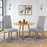Red Barrel Studio® Dining Chairs Set Of 2 Fabric Padded Side Chair w/ Solid Wood Legs & Nailed Trim Wood/Upholstered in Gray   Wayfair