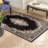 World Menagerie Balthrop Oriental Black/Beige Area Rug in Black/Brown, Size 120.0 H x 96.0 W x 0.33 D in   Wayfair C268A1DDC87847B697D3356B3DF3DCAD