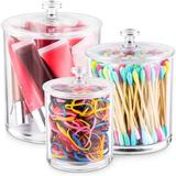 Red Barrel Studio® Acrylic Apothecary Jars Bathroom Vanity Organizer Canister, Clear Plastic Dispenser For Cotton Swabs, Cotton Balls, Cosmetic Pads