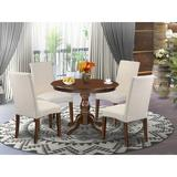 Alcott Hill® Sibylla-LWH-07 3 Pc Dining Table Set - Kitchen Table w/ 2 Grey Chairs For Dining Room - Linen White FinishWood/Upholstered Chairs
