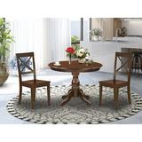 Alcott Hill® Victorine -LWH-W 3 Piece Dining Room Set - Small Kitchen Table w/ 2 Dining Room Chairs - Linen White FinishWood in Brown | Wayfair