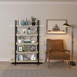 17 Stories 5-shelf Industrial Bookshelf, Open Bookcase w/ Metal Frame, Rustic Book Shelf, Storage Display Shelves, Wood Grain - Oak in Brown/Green
