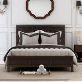 Red Barrel Studio® Classic Full Platform Bed In Rich Brown No Box Spring Needed( Configurable Bedroom Sets)Wood in Gray, Size 57.0 W x 78.0 D in