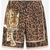 Mid-length Swim Trunks With Leopard Print - Natural - Dolce & Gabbana Beachwear