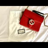 Gucci Bags | Gucci Interlocking Chain Red Leather Crossbody Bag | Color: Red | Size: Os