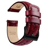 Ritche 22mm Leather Watch Band Quick Release Leather Watch Strap Compatible with Timex Expedition Rugged Metal 45mm / Citizen AW1361-10HE Watch Bands for Men Women - Maroon / Khaki