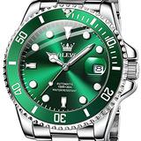 Men Automatic Watches Green Face Fashion Casual Beautiful Wrist Watch Stainless Steel Sliver Watch Self-Wind Mechanical Watches No Battery Waterproof Luminous Date Day Watches,Relojes de Hombre.