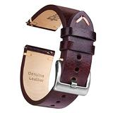 Ritche 22mm Leather Watch Band, Quick Release Genuine Leather Watch Strap Compatible with Fossil Gen 5 Carlyle / Citizen Eco-Drive AW1361-10H Watch Bands for Men Women - Dark Coffee / Khaki