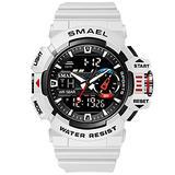 Military Watches Men Sport Watch Waterproof Wristwatch Stopwatch Alarm LED Light Digital Watches Men's Big Dial Clock 8043 (White)