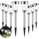 GoodDogHousehold Solar Lights Outdoor Pathway Solar Path Lights 8 Pack - Pathway Lights Stainless Steel Waterproof, Size 16.0 H x 3.5 W x 3.5 D in