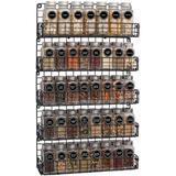 Prep & Savour Spice Rack Organizer Wall Mounted 5-Tier Stackable Black Iron Wire Hanging Spice Shelf Storage Racks, Size 28.0 H x 16.8 W x 2.7 D in