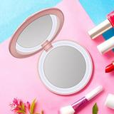 Ebern Designs LED Travel Makeup Mirror Power Bank w/ Light, Foldable Beauty Tool, 3.6-Inch Rechargeable Mirror w/ Light, 1X/3X Magnification in Pink
