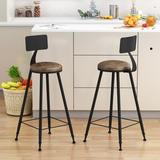 17 Stories 2 PSC Bar Stools Upholstered Seat Wood in Black/Brown, Size 39.7 H x 17.7 W x 17.7 D in | Wayfair EF75A0B897BF4C1E9C502E01AC7246A1